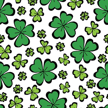 Clover leaf hand drawn doodle seamless pattern vector illustration on white background. St Patricks Day symbol, Irish lucky shamrock background.