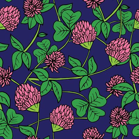 Hand drawn ink and color seamless vector floral pattern. Bright pink clover flowers with green leaves on navy dark blue background