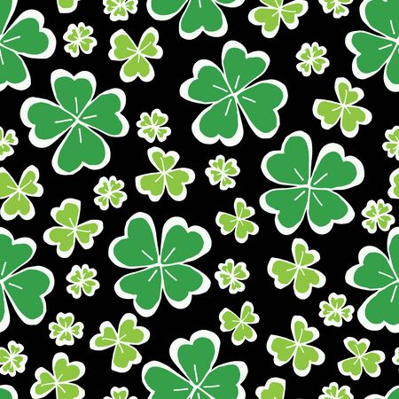 Clover leaf hand drawn doodle seamless pattern vector illustration on black background. St Patricks Day symbol, Irish lucky shamrock background.