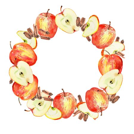 Watercolor illustration. Red apple and cinnamon round wreath frame. Isolated on white background. Design for tea, food, cosmetics, candy, bakery with apple filling, health care products.