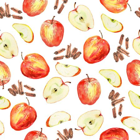 Watercolor seamless pattern with red apples, slices and cinnamon sticks on white background. Hand drawn and painted. Cosy autumn mood