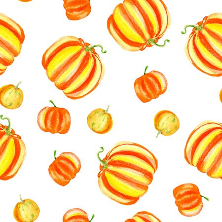 Yellow orange halloween pumpkins seamless pattern on white. Watercolor harvest illustration.