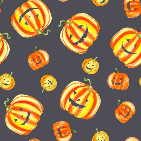 Yellow orange halloween cut pumpkins seamless pattern on black dark background. Watercolor harvest illustration.