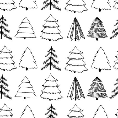 Black and white seamless surface pattern with hand-drawn ink sketch of Christmas and New Year tree. Vector illustration 스톡 콘텐츠