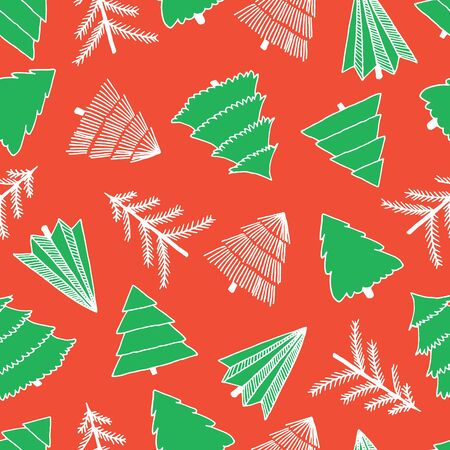 Abstract doodle Christmas trees white and green on red seamless vector pattern. Modern holiday background. Sketch cartoon Christmas design for fabric, gift wrap, greeting cards, decor, scrapbooking