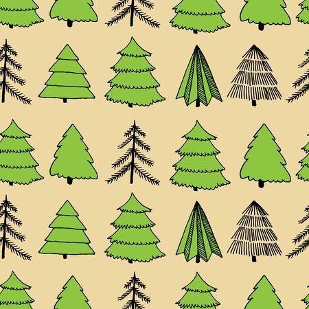 Black ink, green and beige seamless surface pattern with hand-drawn ink sketch of Christmas and New Year fir tree. Vector illustration 스톡 콘텐츠