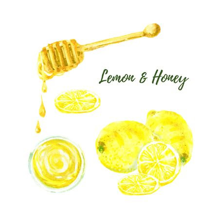 Yellow lemon, honey cup top view and and liquid honey dripping from the honey dipper watercolor illustration isolated on white background. Slice cut citrus fruit. Hand drawn. 스톡 콘텐츠