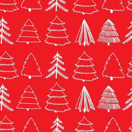 Red and white seamless surface pattern with hand-drawn cute sketch of different Christmas and New Year tree. Vector illustration 일러스트