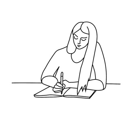 Happy pretty young woman or girl with long hair writing diary sitting at the working desk. Vector illustration character, cartoon, outline, thin black line, linear, simple minimalist style. 일러스트
