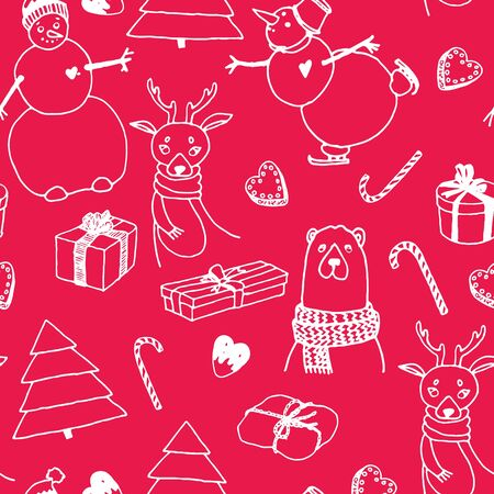 Vector holiday seamless surface pattern. Hand drawn presents, Christmas trees, deer, bear, snow man, candies, sweets, white lines on red background. Graphic doodle style for prints, cards, scrapbook.