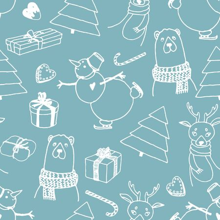 Vector holiday seamless surface pattern. Hand drawn presents, Christmas trees, deer, bear, snow man, candies, sweets, white lines on light blue background. Doodle style for prints, cards