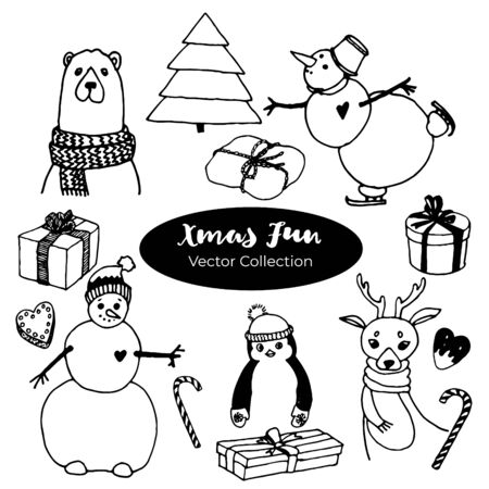 Ink Christmas doodles set with with deer with scarf, Christmas tree, candy, bear, cakes, toys, gifts and socks. Template for Greeting Scrapbooking, Congratulations, Invitations.