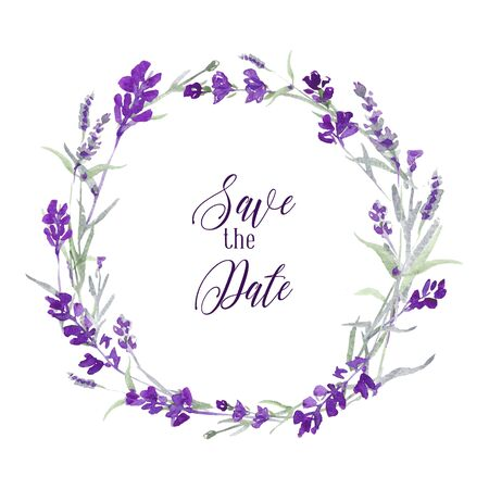 Vector watecolor lavender delicate floral wreath on white background with message Save the date. Blue flowers and green leaves.. Invitation card design.