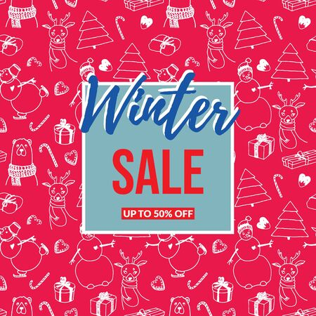 Winter sale red blue inscription on light blue, red and white background with cute cartoon christmas doodles. Vector illustration EPS10. It can be used as a poster, invitation, label, flyer 일러스트