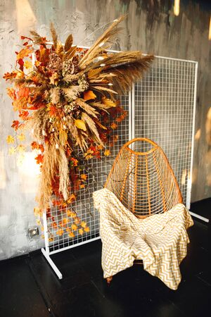 Modern interior with wicker chair and pampass grass. Chair with brown white cover and floral arrangement with autumn leaves on gray background Stockfoto