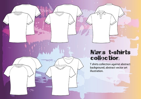 t shirts: T shirts collection against abstract background, abstract vector art illustration   Illustration