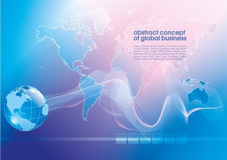 テキストのための場所で最高の抽象的なブルー ビジネス背景。グローバル ビジネスの概念
