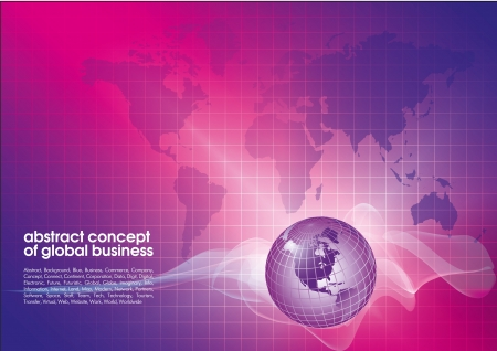 global work company: Best abstract blue-red business background with place for text.  Concept of global business Illustration