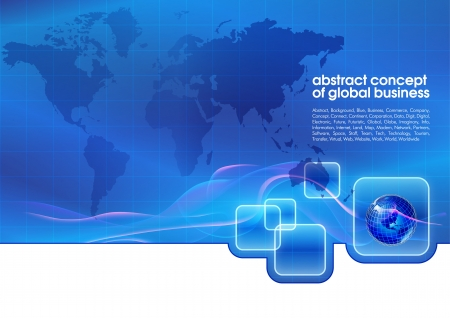 business software: Best abstract blue business background with place for text  Concept of global business Illustration