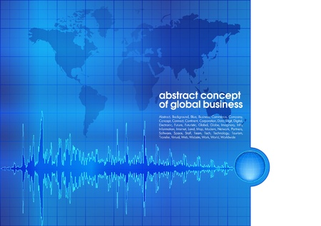 Best abstract blue business background with place for text  Concept of global business Vector
