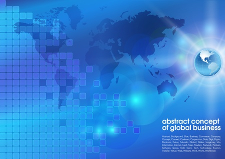 electronic commerce: Best abstract blue business background with place for text  Concept of global business Illustration