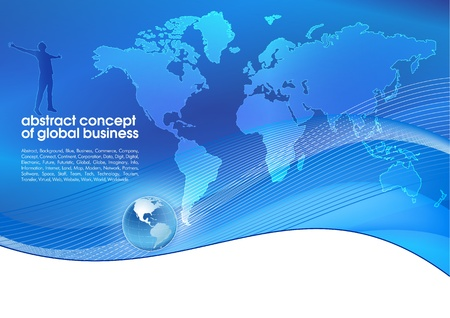 Best abstract blue business background with place for text  Concept of global business Иллюстрация