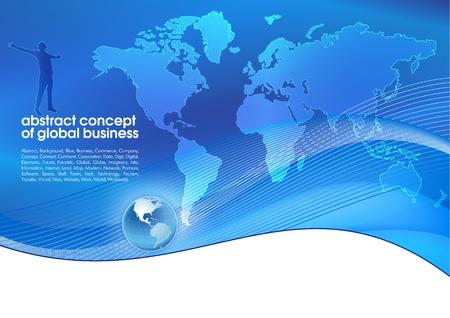 world trade: El mejor resumen de antecedentes de negocios azul con lugar para Concepto de texto de los negocios globales