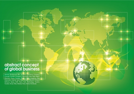 world trade: Best abstract green business background with place for text  Concept of global business