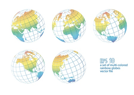 Collection of multicolored rainbow earth globes isolated on white, vector illustration