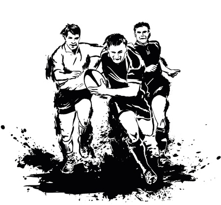 Grunge rugby players with the ball Vector