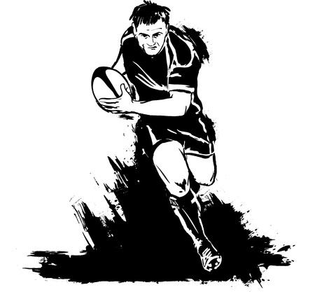 ballon de rugby: Grunge joueur de rugby avec le ballon