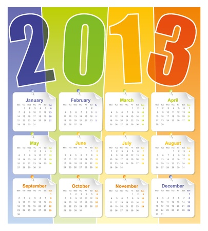 2013 calendar grid, Template for calendar 2013
