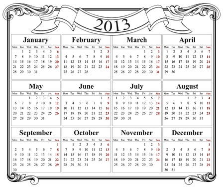 2013 retro calendar grid  Stock Vector - 13896659