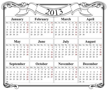 2013 retro calendar grid Stock Vector - 13896659
