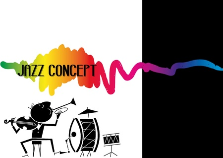 jazz concept, drawing music jazz orchestra Vector