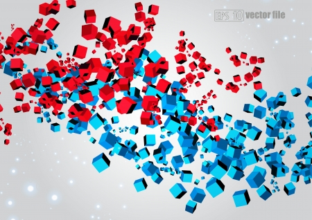 metamorphosis: 3D abstract chaotic explosion of multi-colored cubes