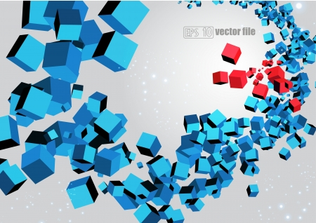 3D abstract chaotic explosion of multi-colored cubes Vector