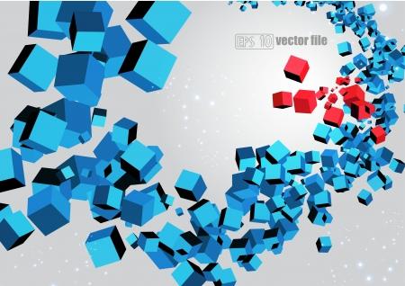 red cube: 3D esplosione astratta caotica di multi-cubi colorati