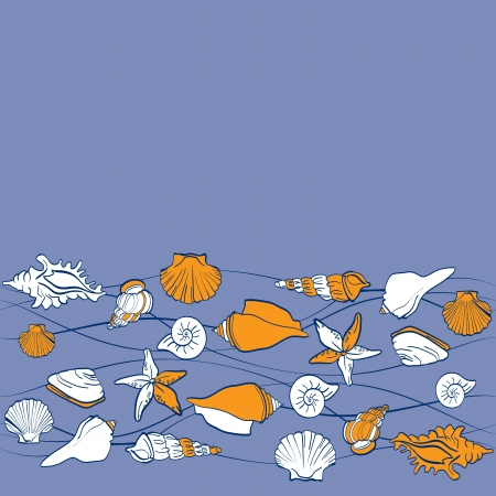 seashells sea vector seamless pattern Vector
