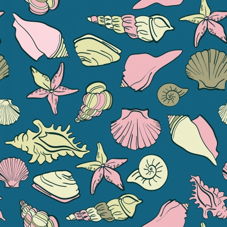 seashells sea vector seamless pattern Vector
