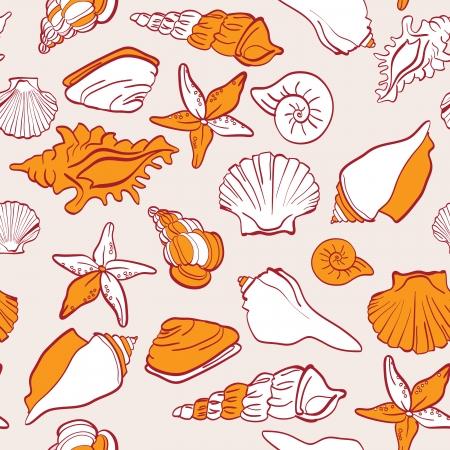 conch: seashells sea vector seamless pattern Illustration
