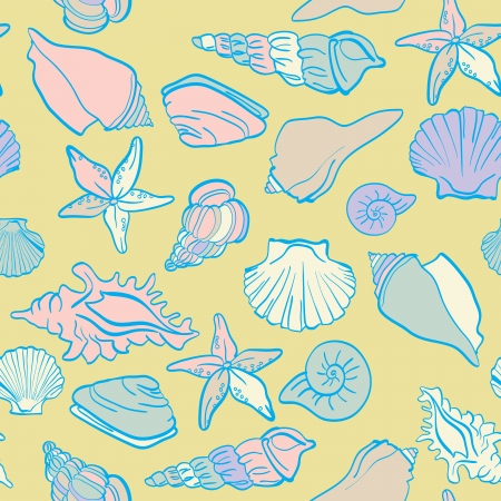 Seamless hand drawn background underwater tropical fauna Vector