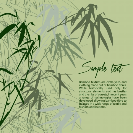 korean culture: Bamboo. Floral background with copy space, illustration Illustration