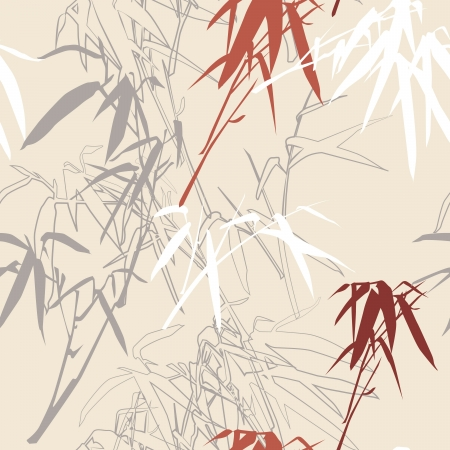 japanese garden: Floral seamless pattern background, illustration