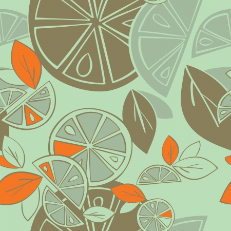 citrus seamless pattern on a green background Vector