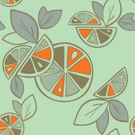 citrus seamless pattern on a green background Stock Vector - 14607124