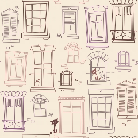 seamless pattern  with different windows  and cats Vector