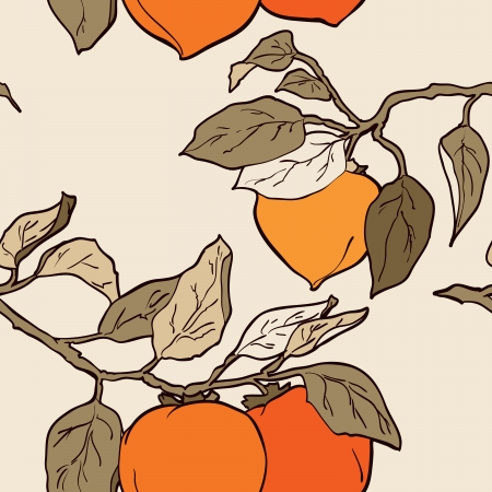 persimmon tree: persimmon seamless pattern Asian Traditional Painting