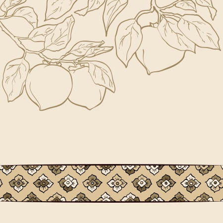 korea: persimmon seamless pattern Asian Traditional Painting