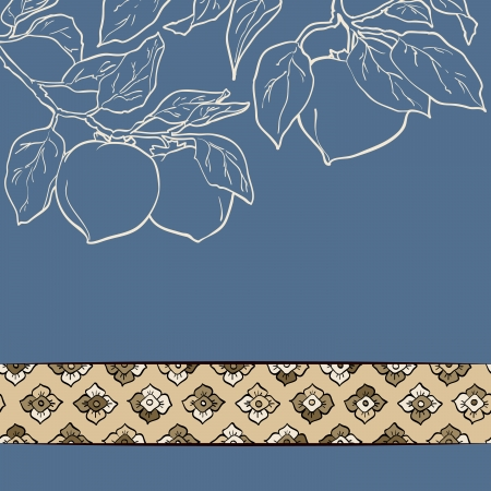 persimmon seamless pattern Asian Traditional Painting Vector